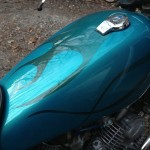 hendersonville custom motorcycle paint job with flames