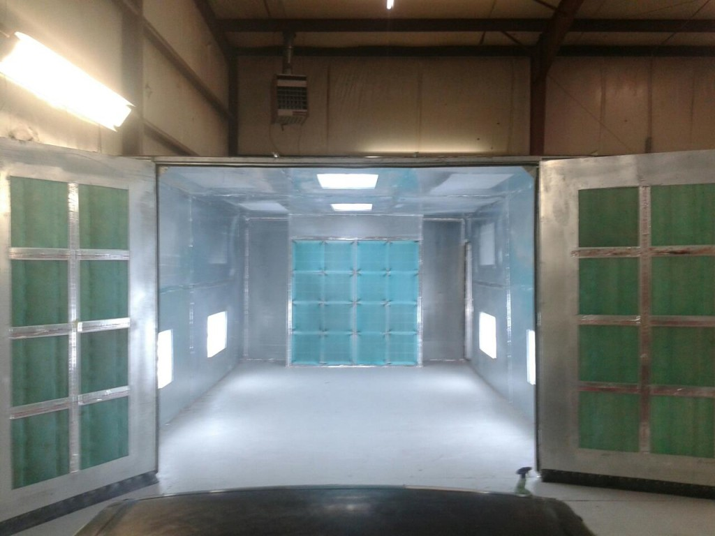 Mills River auto body shop paint booth