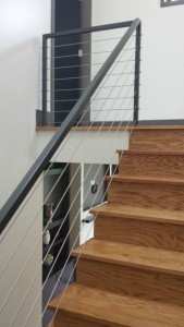 painted steel staircase rails custom paint in asheville