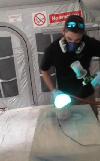 td customs applying lumilor electroluminescent paint, lumilor lab