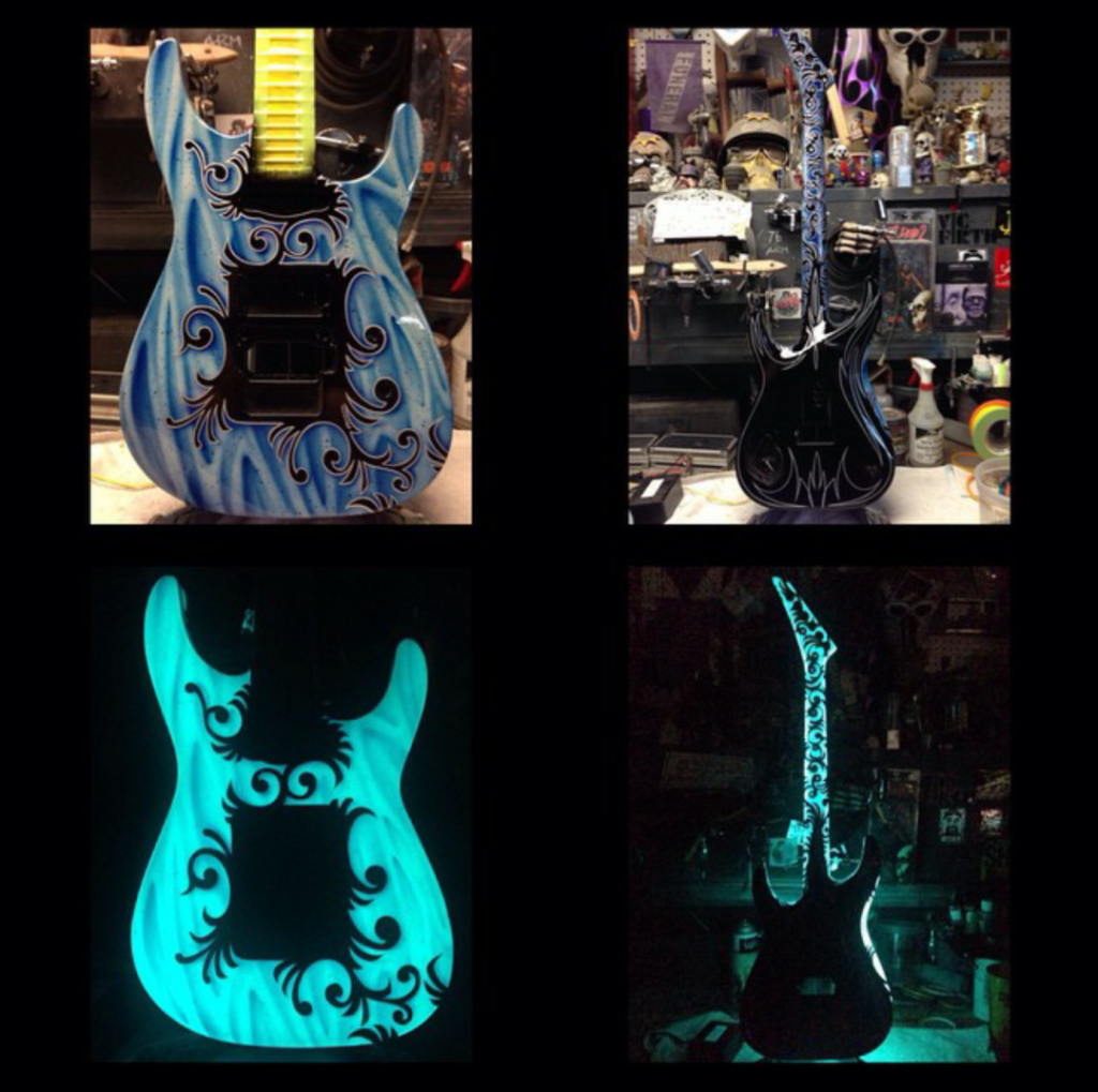 guitar with light up paint Lumilor electroluminescent