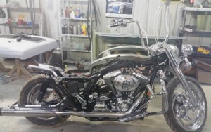 Harley motorcycle in for paint job