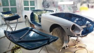 inners painted, classic mgb auto restoration