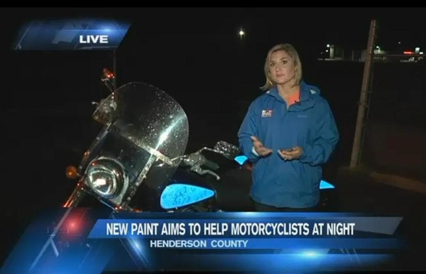 Sarah Danik, FOX Carolina Live from TD Customs light up motorcycle