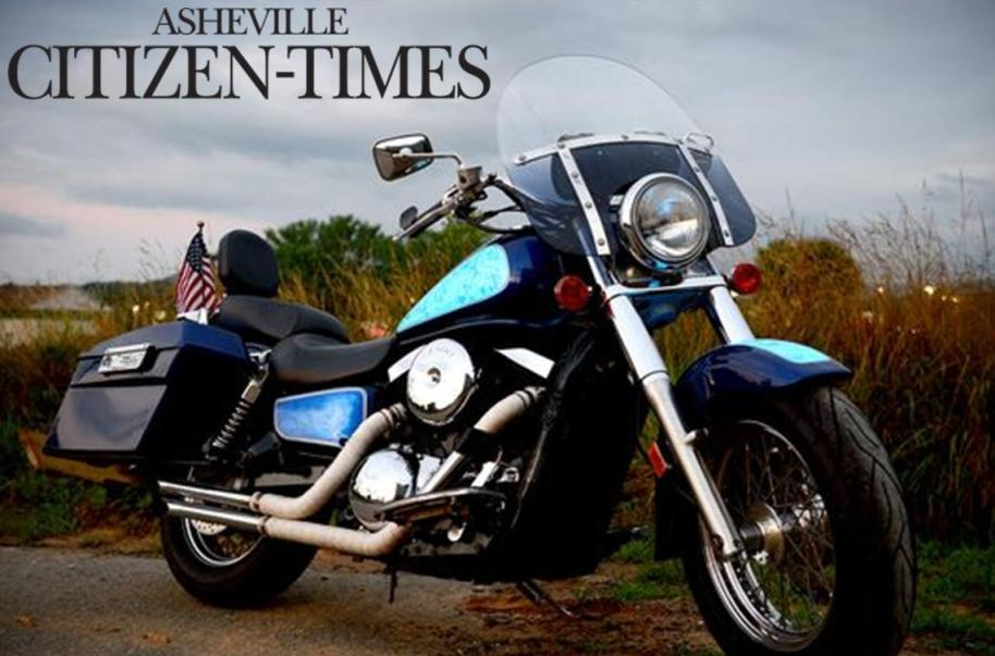 TD Customs Lumilor light up motorcycle featured in Asheville Citizen Times