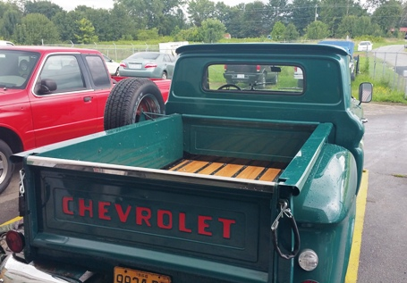 stained wood truck bed - custom body shop
