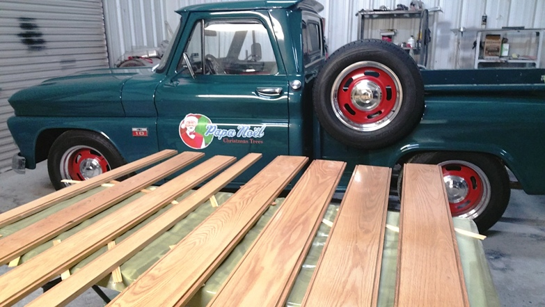 stained truck bed wood for the 66 chevy truck