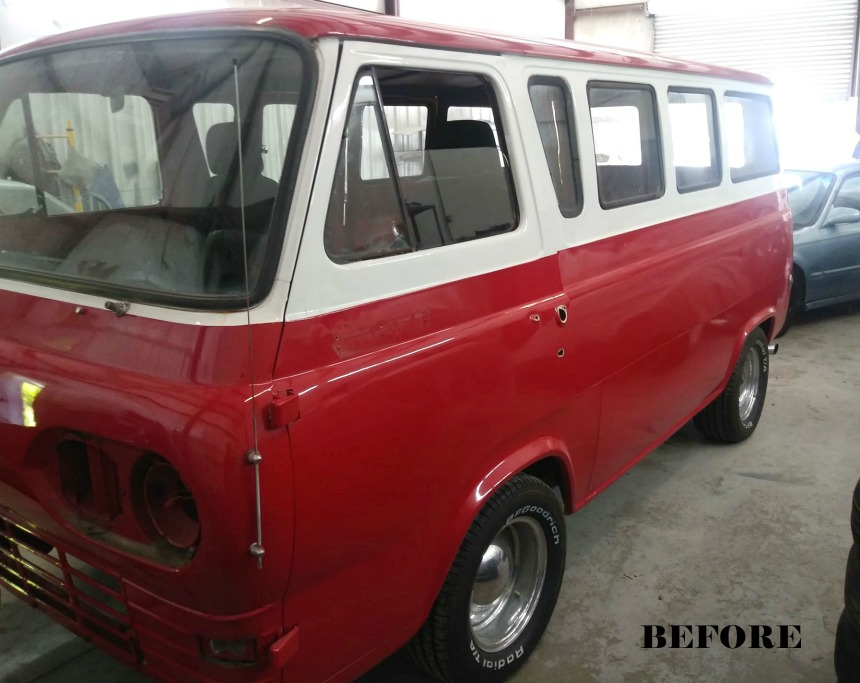 auto body shop paint job - Econoline van before