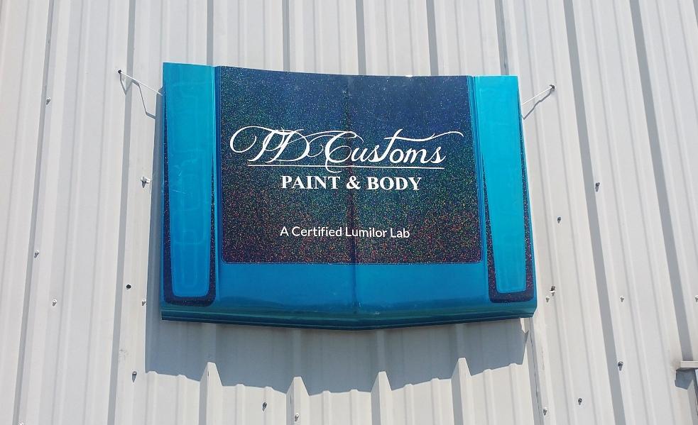TD Customs custom hood shop sign